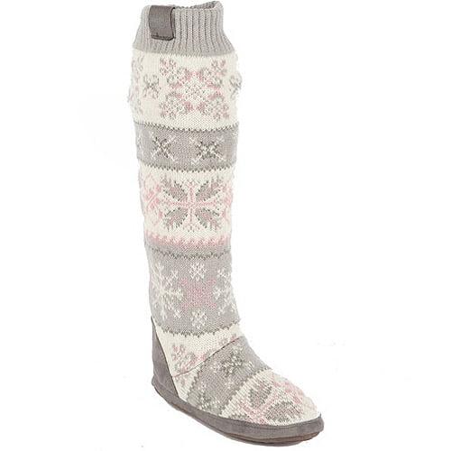 Muk Luks Womens Snowflake Nordic Slipper Boot