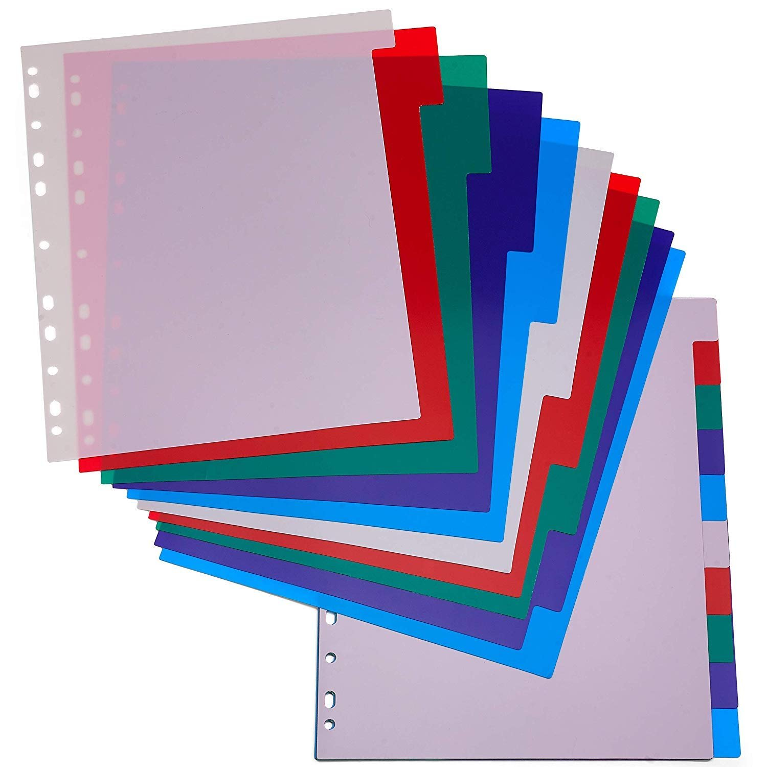 3-Ring Binder Dividers With 10-Color Tabs 2 Pack Durable