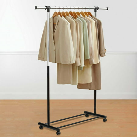 Portable and Expandable Garment Rack in Black/Chrome, Measures 32- 48 W x 17.3 D x 66 H By Bed Bath and Beyond