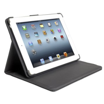 Digital Treasures Props Polyurethane Leather Folio Case & 12000mAh Power Bank for iPad 2/3/4 & Other USB Devices (Black)