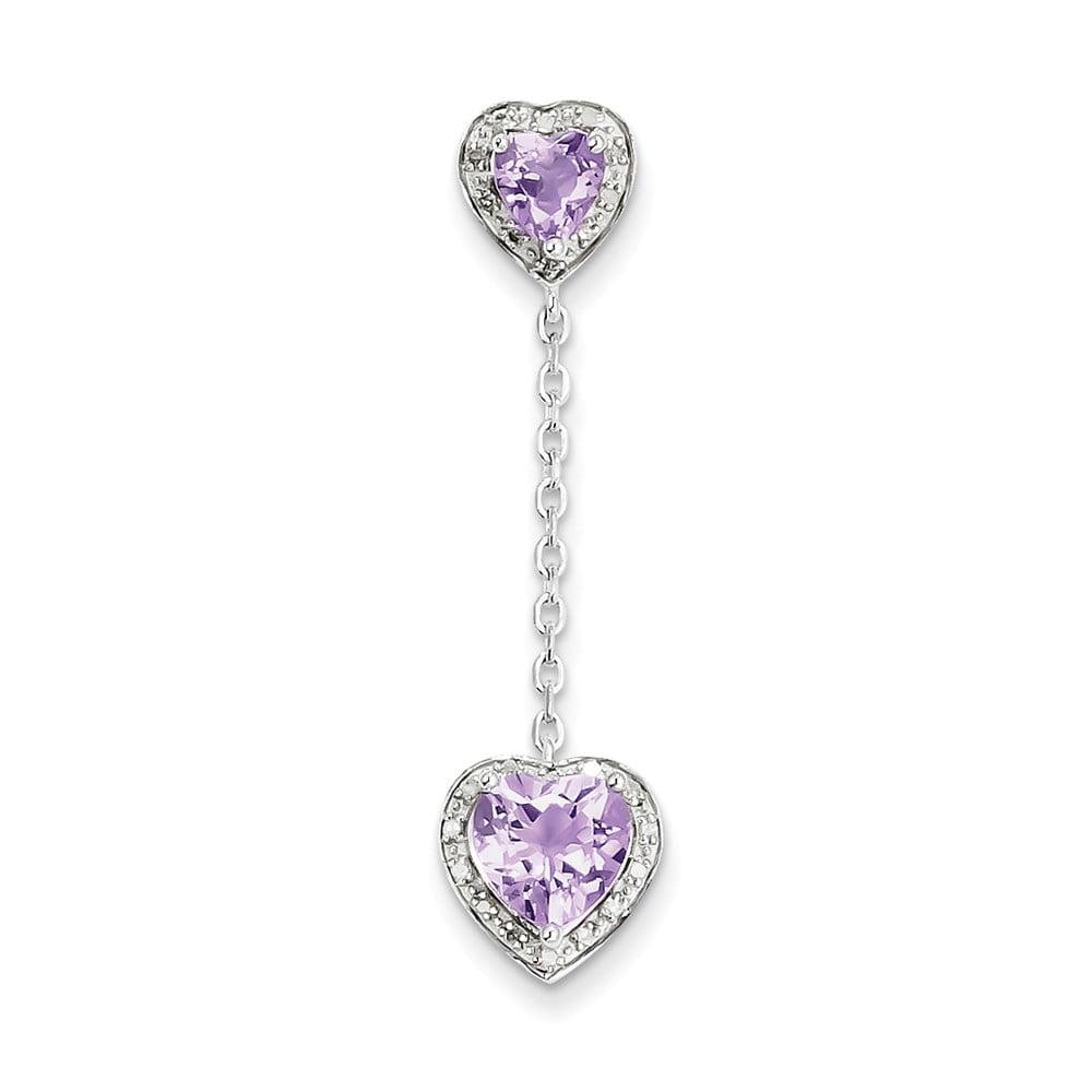 Sterling Silver Diamond Pink Amethyst Pendant. Carat Wt- 0.07ct. Gem Wt- 1.57ct