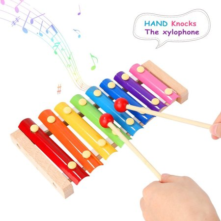 Kids Toys Music Player - Colorful 8 Tones Hand Knock Xylophone with 2 Wooden Mallets Music Instruments Toys Rhyth m Educational Kit Wooden Musical Toys Kids Children Toddlers