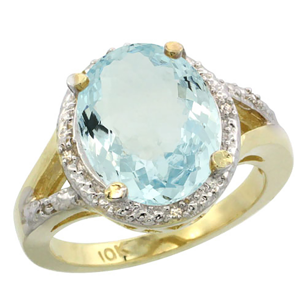 14K Yellow Gold Natural Aquamarine Ring Oval 12x10mm Diamond Accent, size 5.5 by Gabriella Gold