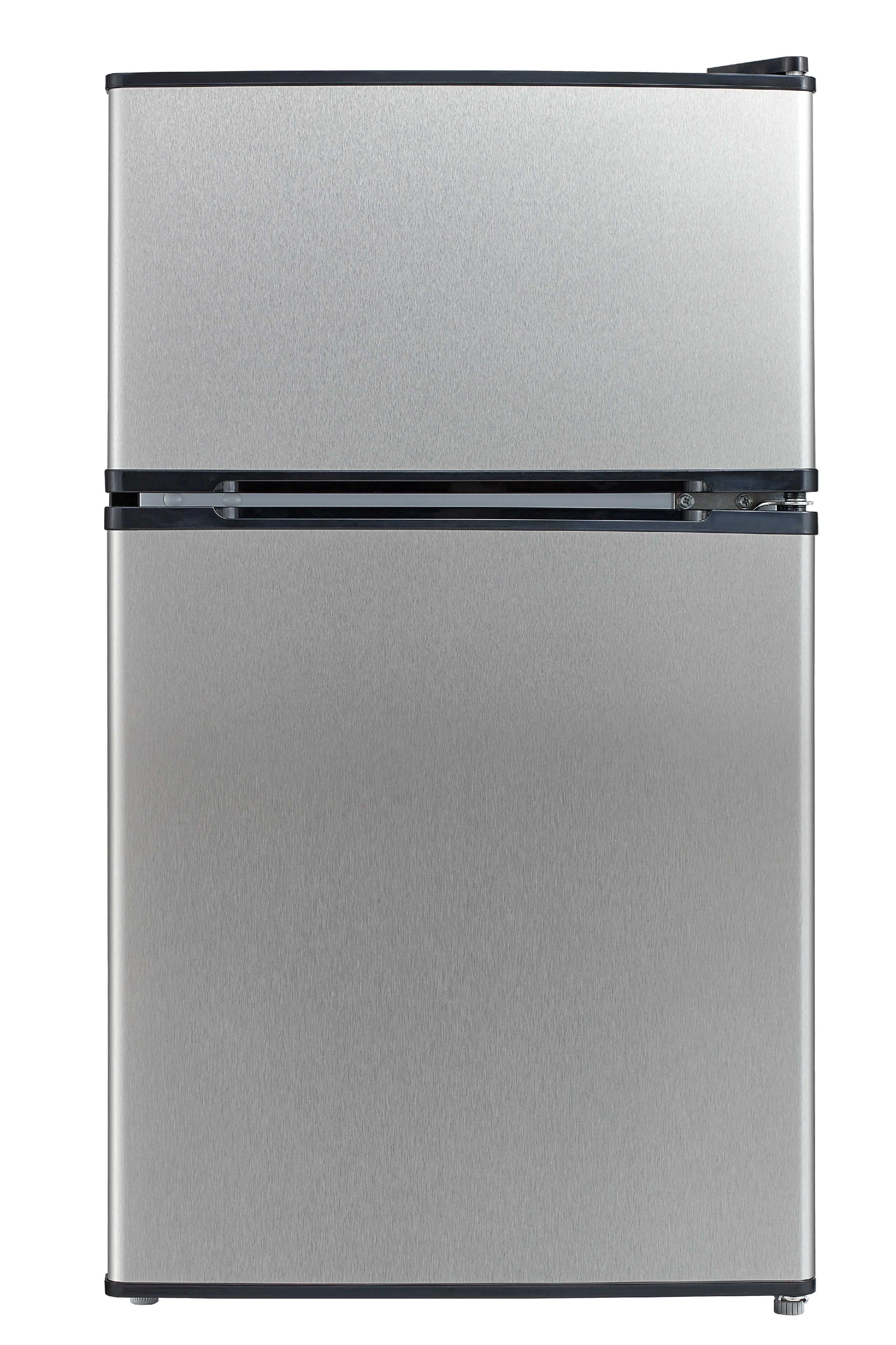 Emerson 3.1 Cu Ft Two Door Mini Fridge with Freezer CR510BSSE, Stainless