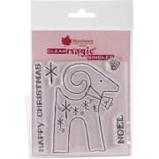 """Woodware Clear Stamps 3.5""""X3.5""""-Noel Reindeer, Pk 2, Woodware Craft Collection"""