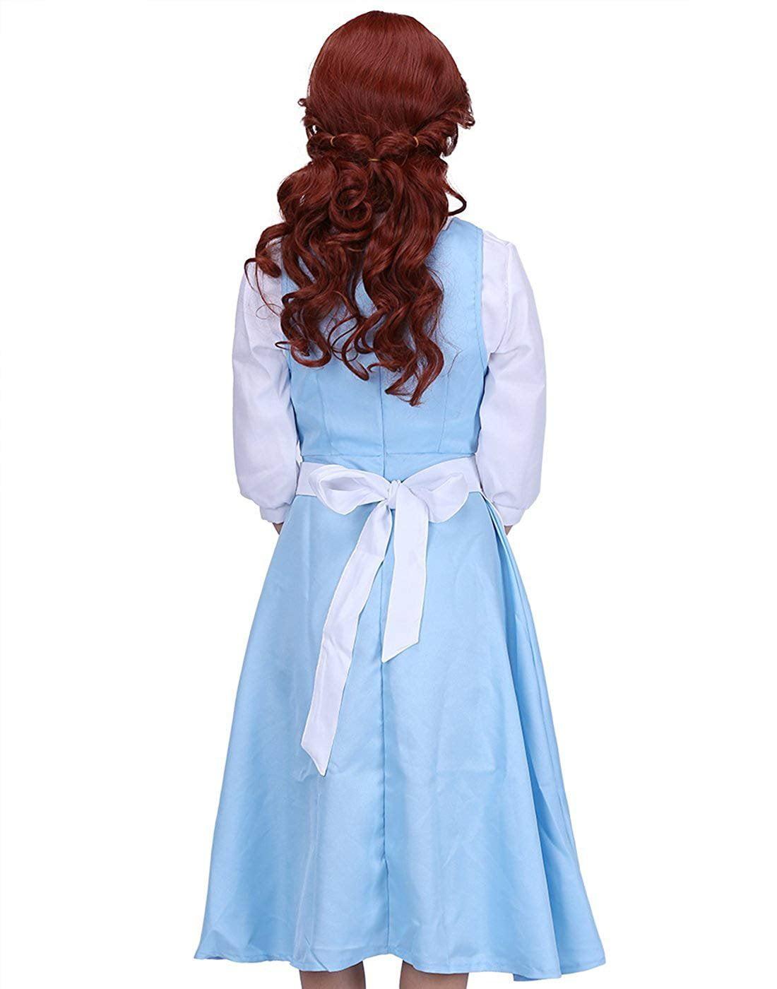 Adult Princess Belle Wig Pre-styled Curled Hair Women/'s Auburn Wig  w// Wig Cap
