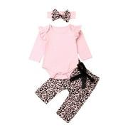 Gueuusu 3 Pcs Baby Girl Set, Long Sleeve Rompers+ Leopard Pants+ Headband Suits