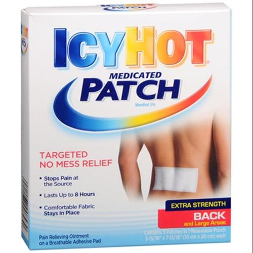 ICY HOT Medicated Patches Extra Strength Large (Back) 5 Each (Pack of 4)