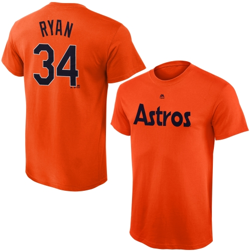 Nolan Ryan Houston Astros Majestic Youth Cooperstown Collection Name & Number T-Shirt - Orange