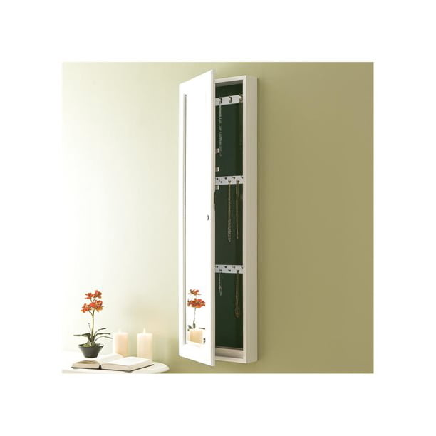 Wallmount Jewelry Storage With Mirrored, Over The Door Mirror With Jewelry Storage