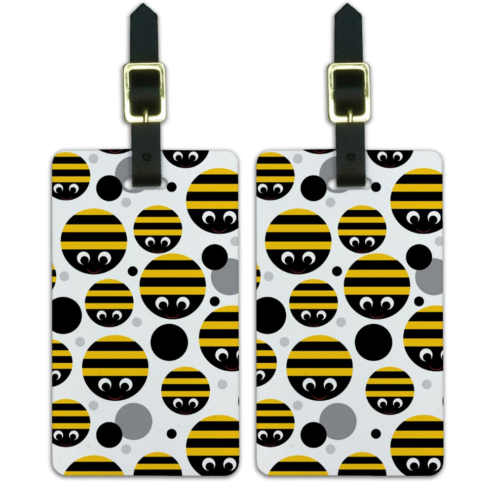 Bumble Bee Party Girl Birthday Luggage Suitcase Carry-On ID Tags Set of 2