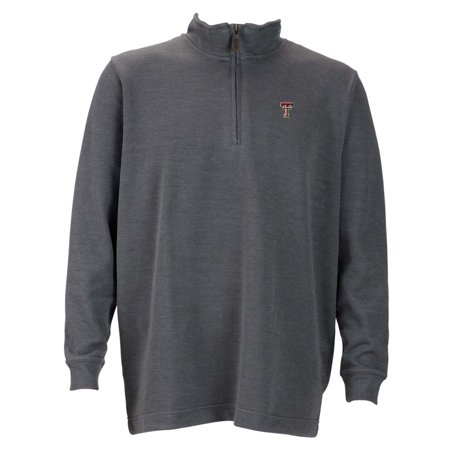 Texas Tech Mens 1 4 Zip Flat Back Rib Pullover  Color  Grey