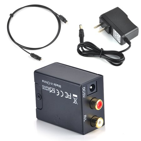Digital to Analog Audio Converter Adapter Coaxial Optical Toslink RCA L/R US Plug