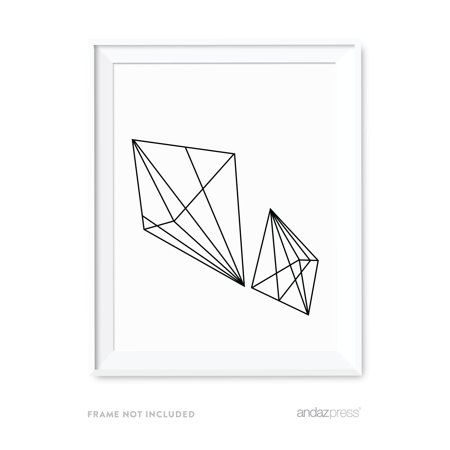 Double Polygon Geometric Shapes Origami Wall Art Black White Minimalist Print
