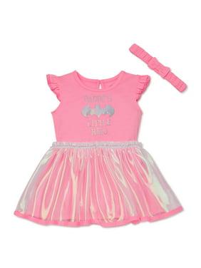 DC Comics Batgirl Baby Girl Bodysuit Tutu Dress & Headband, 2pc Set