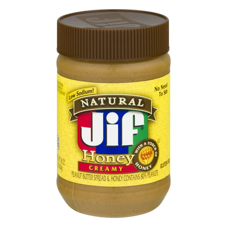 (3 Pack) Jif Natural Peanut Butter Honey Spread, 16-Ounce Low Sodium Peanut Butter