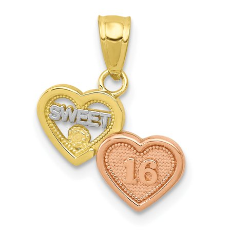 10k Two Tone Yellow Gold White Small Sweet Sixteen Girl 16 Birthday Pendant Charm Necklace Special Day For (Two Tone Small Girl)