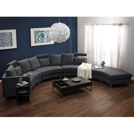 Modern Curved Sectional Sofa With Chaise And Headrests Dark Gray Fabric Rotunde