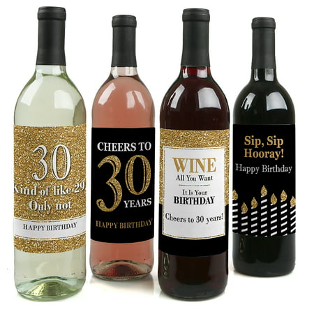 Adult 30th Birthday - Gold - Party Decorations for Women and Men - Wine Bottle Label Stickers - Set of 4 (Adult Birthday Party Supplies)
