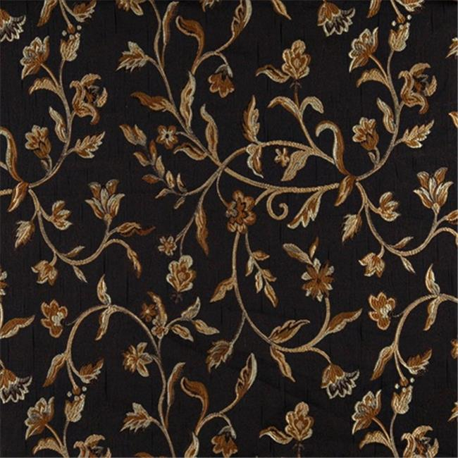 Designer Fabrics K0011C 54 in. Wide Midnight, Gold And Ivory Embroidered, Floral Brocade, Upholstery And Window Treatments Fabric