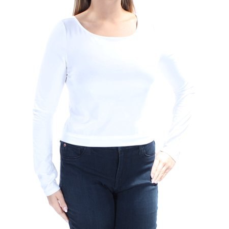 GUESS Womens White Tie Long Sleeve Jewel Neck Top  Size: L