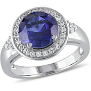 3-3/4 Carat T.G.W. Created Blue Sapphire and Created White Sapphire Sterling Silver Halo Engagement Ring