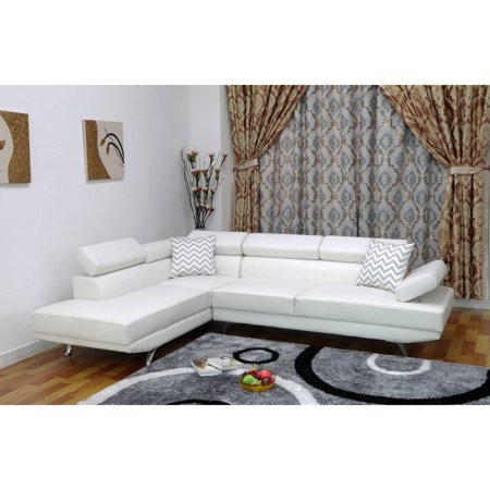 Ufe White Faux Leather Modern Living Room Left Facing Chaise Image