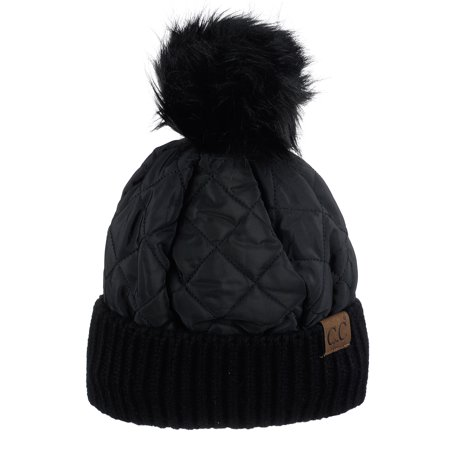 2d9d2e69442 C.C Soft Quilted Puffer Detachable Faux Fur Pom Inner Lined Cuff Beanie Hat,  Black Image