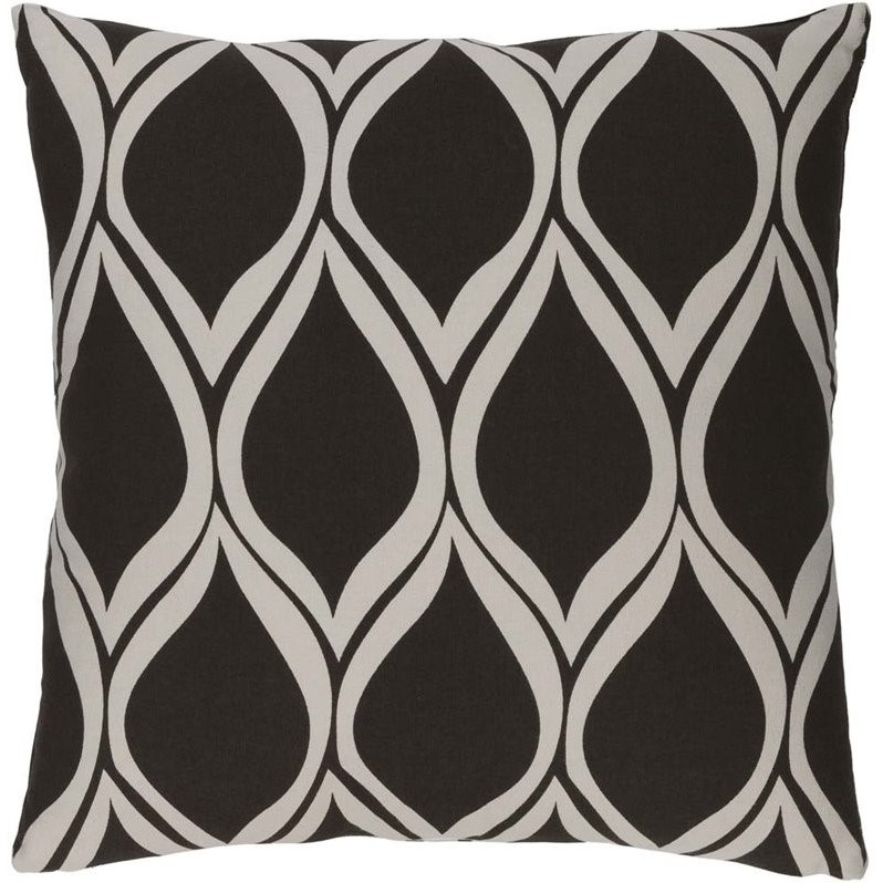 "Surya Somerset Down Fill 18"" Square Pillow in Black"