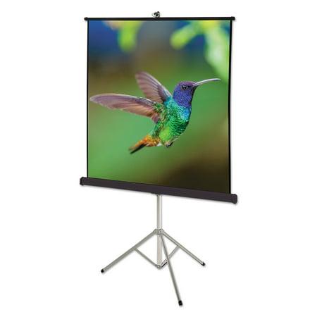 Quartet Portable Tripod Projection Screen, 60 x 60, White Matte, Black Steel -