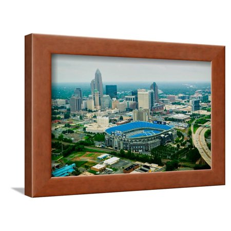 Aerial view of Ericcson Stadium and Charlotte, NC Framed Print Wall Art - Costume Store Charlotte Nc