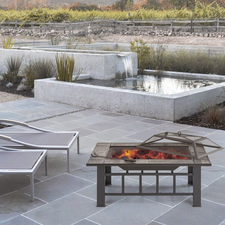 iKayaa Metal Garden Backyard Fire Pit Patio Square Firepit Stove Brazier Outdoor Fireplace W/ Firepit Cover & Poker + BBQ Grill ()