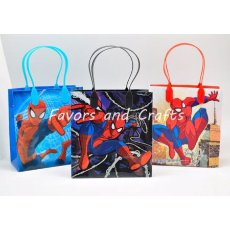 12 Spider-man Party Favor Bags Birthday Candy Treat Favors Gifts Plastic Bolsas De Recuerdo