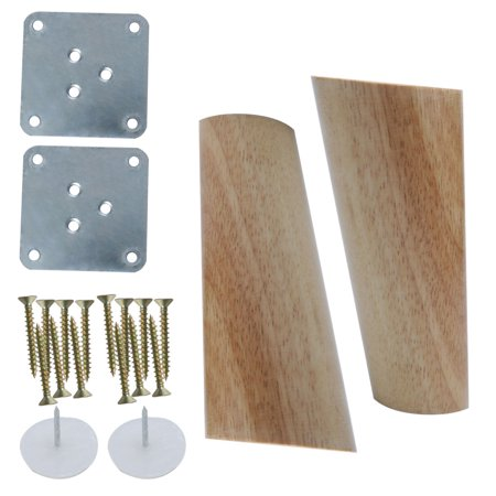 Height Couch (5 Inch Round Wood Furniture Legs Sofa Cabinet Oblique Feet Replacement Height Adjuster 2pcs, Wood Color )