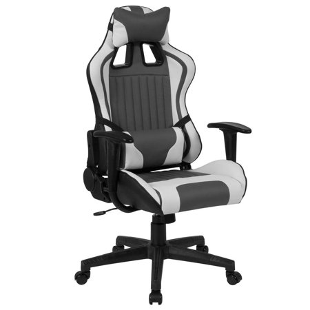 High Back Gray and White Reclining Racing/Gaming Office Chair with Adjustable Lumbar