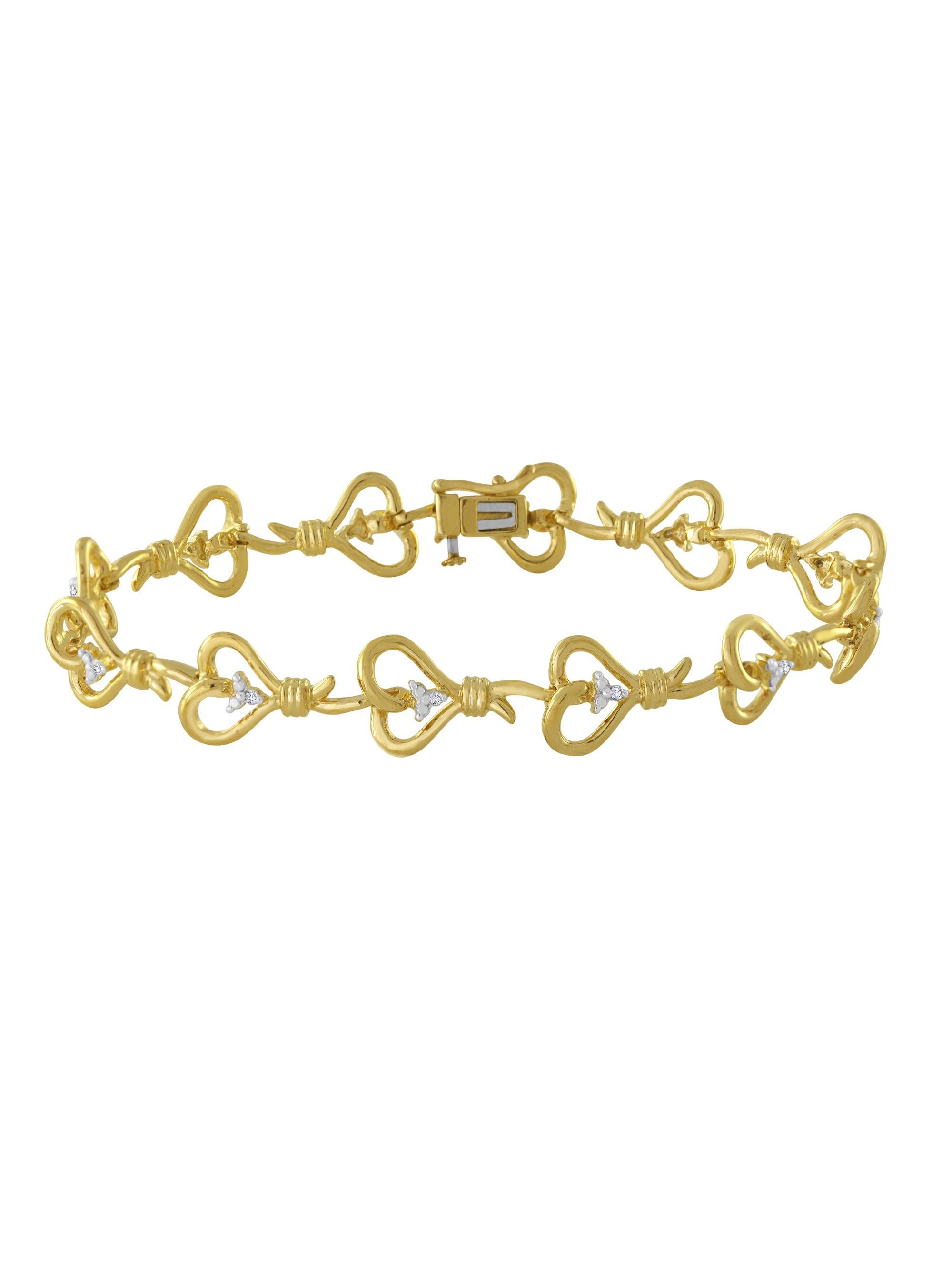 "Knots of Love 14kt Yellow Gold over Sterling Silver 1/10 Carat T.W. Diamond Bracelet, 7.5"""