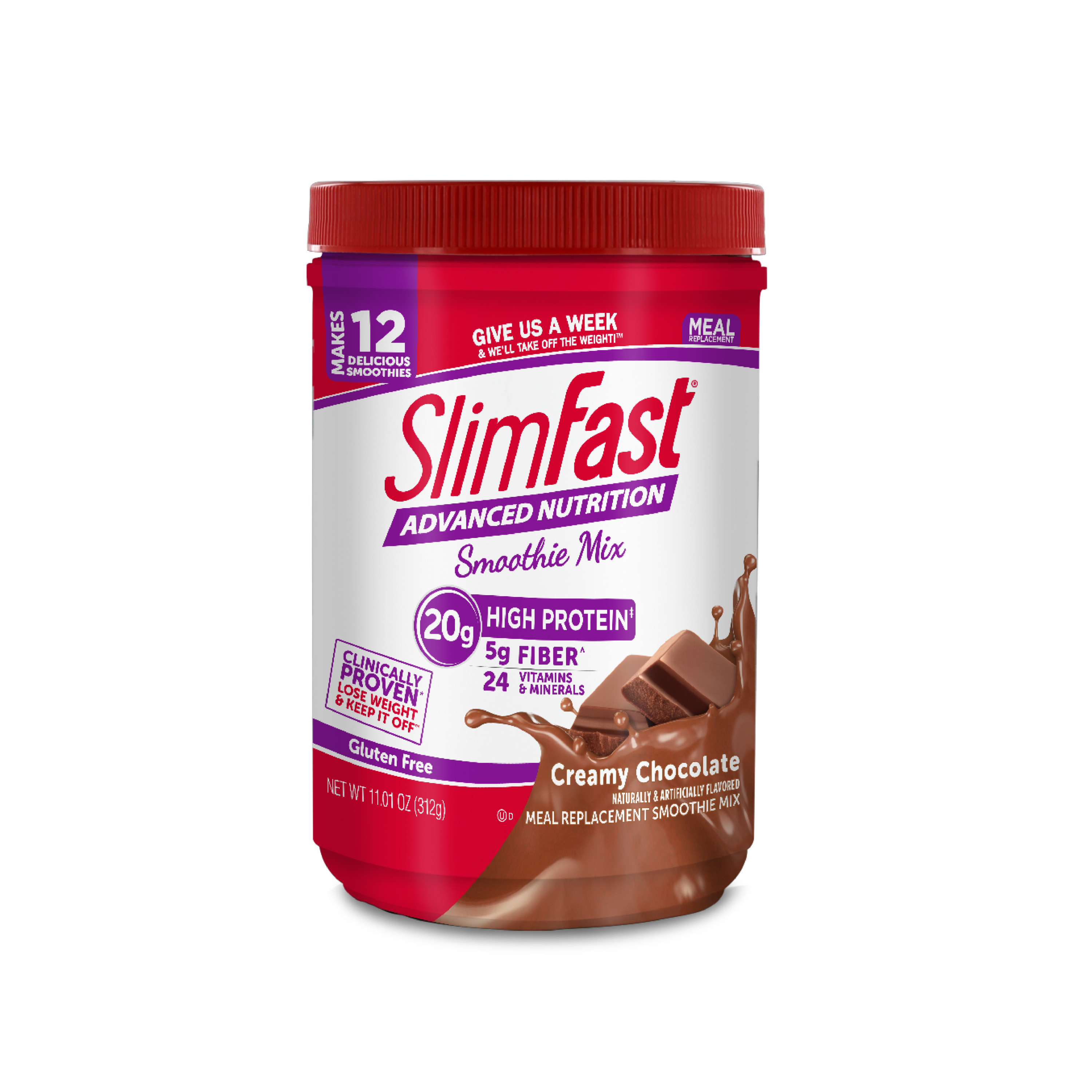 SlimFast Advanced Nutrition Smoothie Mix, Creamy Chocolate, 11.01oz (12 servings)