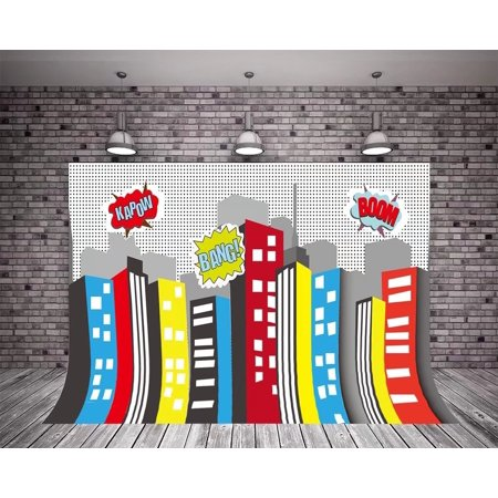 HelloDecor Polyster 5X7ft Photography Backdrop Birthday Party Super City Building Night Baby Boy Children Photography for Photo - Party City For Boys
