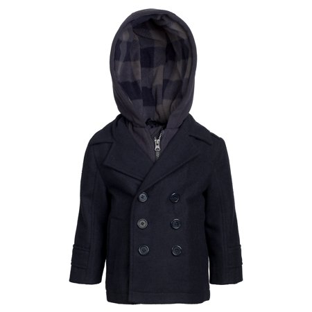 London Fog Boys Double Breasted Wool Blend Hooded Winter Peacoat