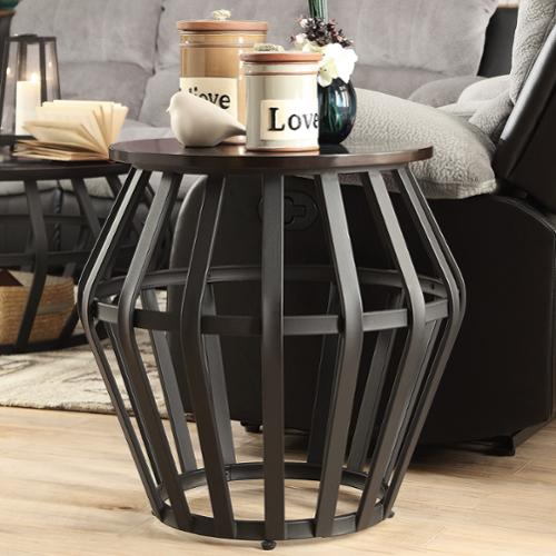 INSPIRE Q Devon Metal Frame Round Cage Slate Accent End Table By Classic