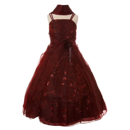 Cinderella Couture Little Girls Burgundy Flower Sequin Scarf Pageant Dress - Cinderella Dress Girl