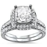 Noori Collection Noori 18k White Gold 2ct Cushion-cut White Diamond Clarity Enhanced Engagement Ring Bridal Set