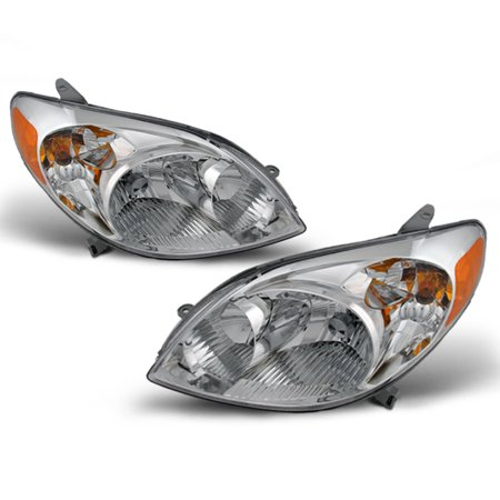 Fits 2003-2008 Toyota Matrix Amber Chrome Clear Headlights Headlamp Replacement