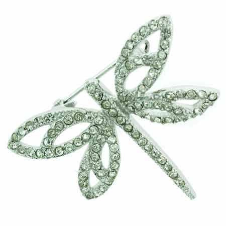 Sterling Silver Simulated Diamond Cubic Zirconia Dragonfly Pin by SilverSpeck
