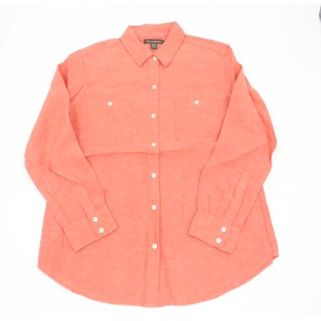Tommy Bahama Womens Sunset Chambray Easy Medium Dark Coral Long Sleeve Shirt Long Sleeve Sturgis Shirt