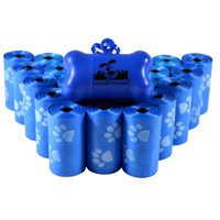Pet Waste Bags, Dog Waste Bags, Bulk Poop Bags on a roll, Clean up poop bag refills + FREE Bone Dispenser (Blue Paws, 500)