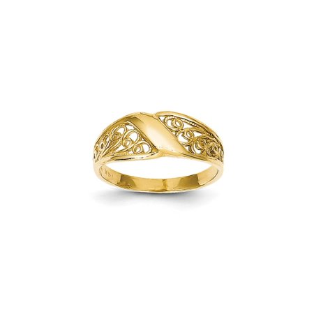 Solid 14k Yellow Gold Polished Filigree Ring (7mm) - Size