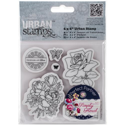 "Papermania Simply Floral Urban Stamps 4""X4""-Birthday Rose"