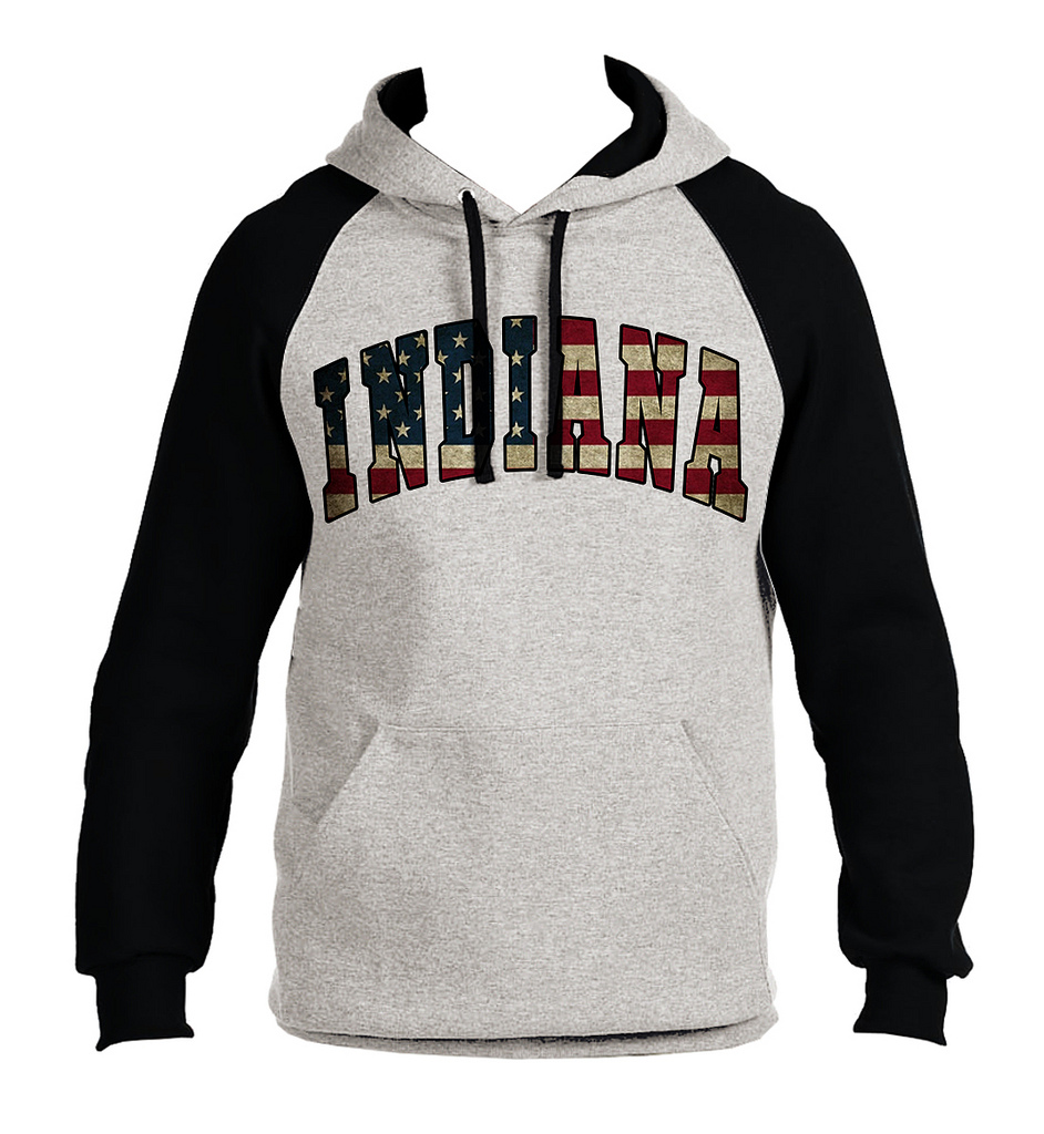 Koyotee Mens Indiana USA Flag B1559 Gray Fleece Vest Hoodie