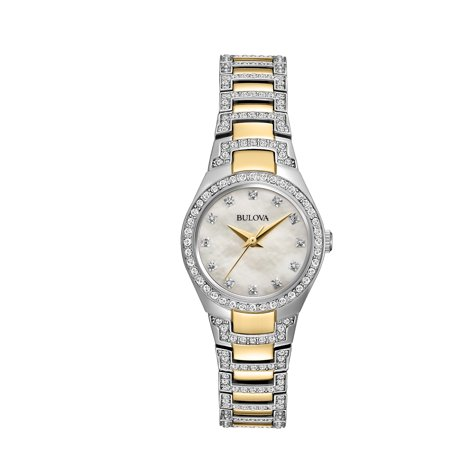 Bulova Factory Refurbished Women's Crystal Two-Tone Stainless Steel Watch